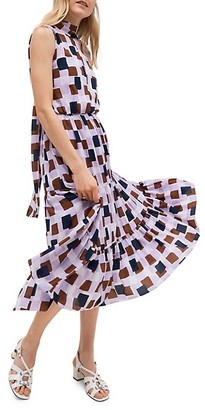 Kate Spade Geometric Flounce Midi Dress