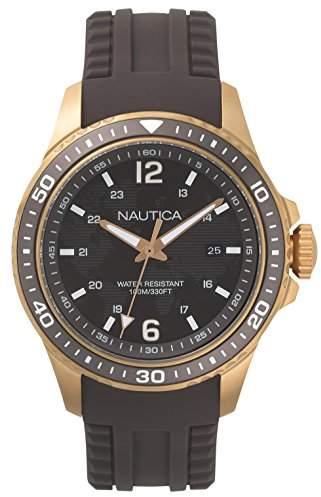 Nautica Men's FREEBOARD Stainless Steel Quartz Sport Watch with Silicone Strap