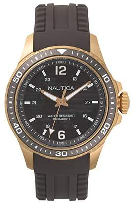 Nautica Men's FREEBOARD Stainless Steel Quartz Sport Watch with Silicone Strap