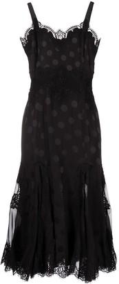 Dolce & Gabbana Polka Dot Lace-Panel Dress