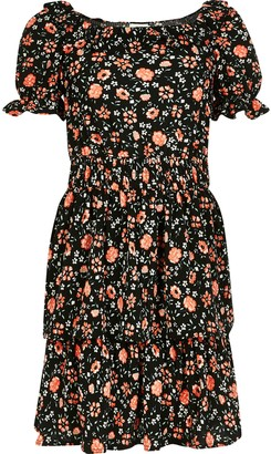 River Island Girls Black floral frill skater dress