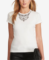 Polo Ralph Lauren Jeweled-Neckline T-Shirt