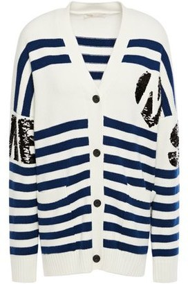 Maje Murmur Embellished Striped Knitted Cardigan