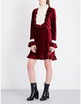 Anna Sui High neck floral-lace and crushed-velvet mini dress