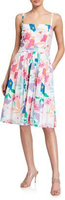 Milly Bo Les Fleurs Cotton Poplin Dress