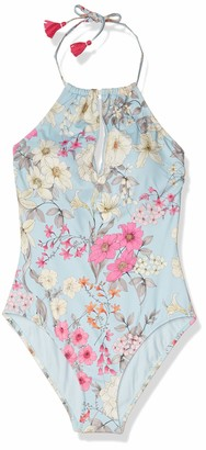 Johnny Was Women's Blue and Pink Printed one Piece Halter Swimsuit