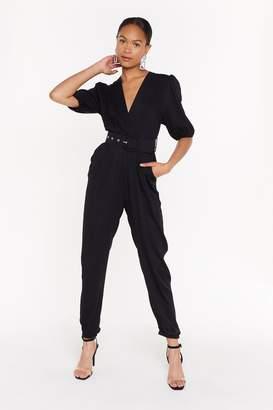 Nasty Gal Womens Wrap It Up V-Neck Belted Jumpsuit - Black - S/M, Black