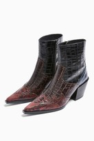 Topshop Womens Missouri Leather Burgundy Snake Western Boots - Burgundy