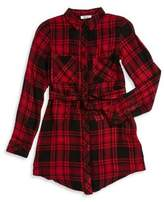 Dex Girl's Belted Plaid Shirtdress