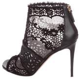 Valentino Lace Peep-Toe Ankle Boots