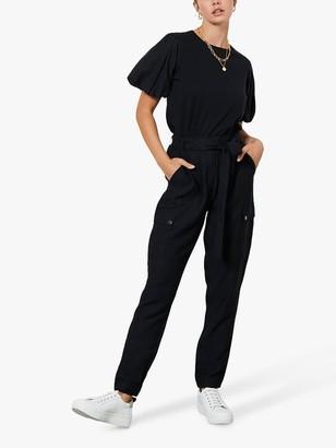 Mint Velvet Belted Cargo Trousers, Black
