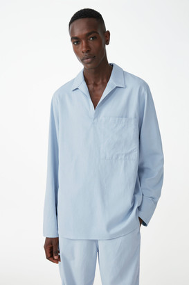 Cos Organic Cotton-Linen Mix Open Collar V-Neck Shirt