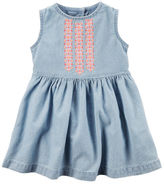 Carter's Embroidered Yoke Chambray Dress