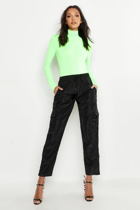 boohoo Tall Neon Rib Roll Neck Top