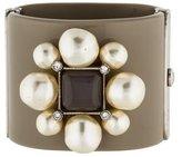 Chanel CC Pearl, Crystal & Resin Cuff Bracelet w/ Tags