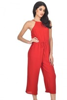 AX Paris Red High Neck Culotte Jumpsuit