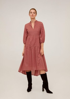 MANGO Metallic thread striped dress russet - 6 - Women