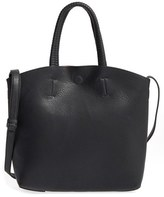 Street Level Faux Leather Dome Tote - Black