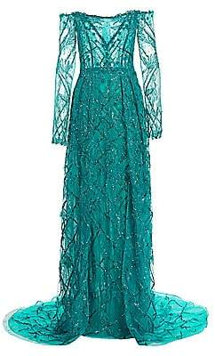 Pamella Roland Women's Beaded Lace Off-The-Shoulder Gown