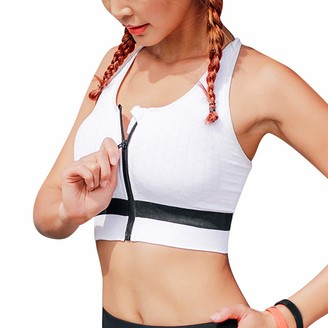 Litthing Women's Zip Front Sports Bra Push Up Athletic Bra High Impact Front Closure Activewear Yoga Fitness Bra White