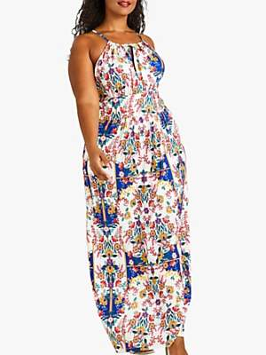 Yumi Curves Mexican Print Maxi Dress, Ivory