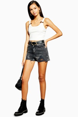 Topshop Denim Mom Shorts with Rips