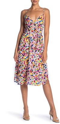Rowa Tie Waist Patterned Midi Dress
