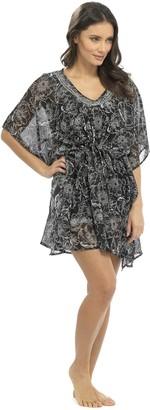 Tom Franks Semi-Sheer Monochrome Sequinned Kimono Top Black Medium