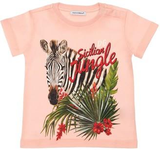 Dolce & Gabbana Zebra Printed Cotton Jersey T-Shirt
