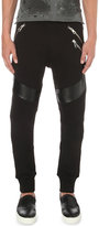 Just Cavalli Faux-leather Panel Cotton-jersey Jogging Bottoms