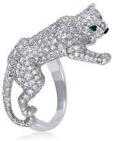 Cartier Panthere 18K White Gold Diamond Pave Emerald and Onyx Ring Size 5.75