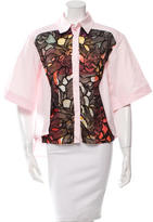 Peter Pilotto Embroidered Short Sleeve Button-Up Top w/ Tags
