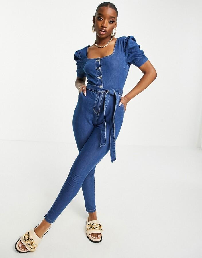 Parisian belted denim jumpsuit in mid wash blue
