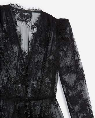The Kooples Lace black top with long sleeves