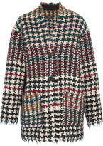 Isabel Marant Diana Frayed Houndstooth Tweed Coat - Burgundy
