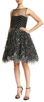 Alexandra Vidal Sleeveless Illusion Organza Cocktail Dress, Black/White