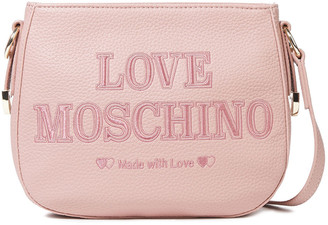 Love Moschino Embroidered Faux Pebbled-leather Shoulder Bag