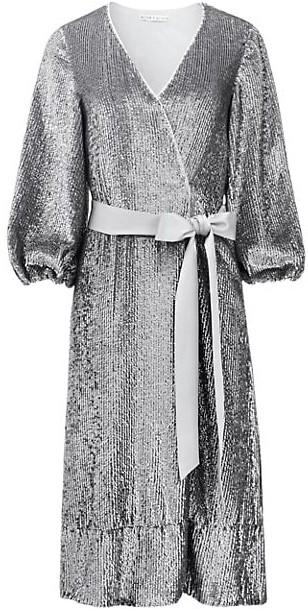 Alice + Olivia Anne Embellished Sequin Belted Wrap Dress