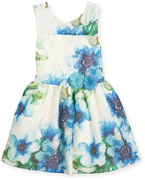 Zoë Ltd Sleeveless Floral Perforated Mesh Dress, Blue/White, Size 7-16