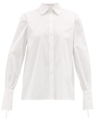 Carolina Herrera Balloon-sleeve Cotton-blend Poplin Shirt - Womens - White
