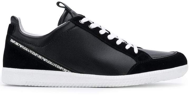 Emporio Armani perforated low-top sneakers