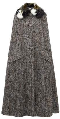 Miu Miu Feather Trimmed Tweed Cape - Womens - Grey Multi