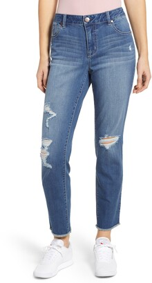 1822 Denim High Rise Distressed Mom Jeans
