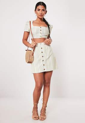 Missguided Stone Co Ord Lace Stripe Button Front Mini Skirt