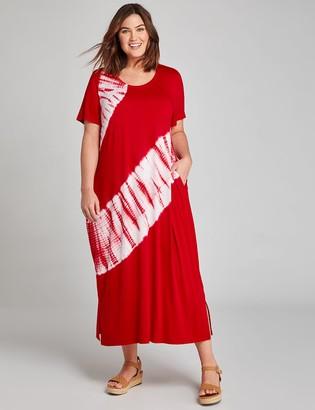 Lane Bryant Tie-Dye Tie-Hem Midi Dress
