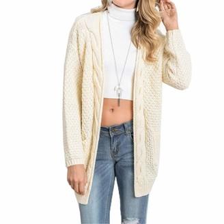 HanPaint Long Cardigan Women Long Sleeve Knitted Sweater Cardigans Autumn Sweaters Jersey Beige L