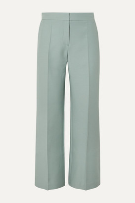 Valentino Wool And Silk-blend Crepe Wide-leg Pants - Green