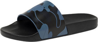 Valentino Bluette/Marine Rubber Camouflage Slides Size 42