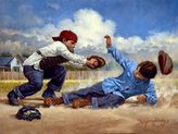 Home Safe by Jim Daly Kid Children Baseball Americana Poster (Choose Size of Print)