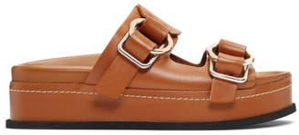 3.1 Phillip Lim Brown Freida Double Buckle Platform Sandals